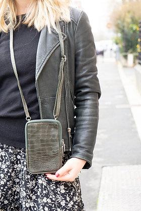 Cellphone Olive Leather Croco Wallet - Jijou Capri
