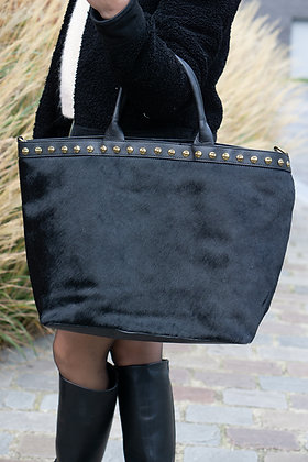 Black Minos Pony Leather Handbag - Jijou Capri