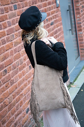 Taupe Fringes Suede Leather Tote Bag - Jijou Capri