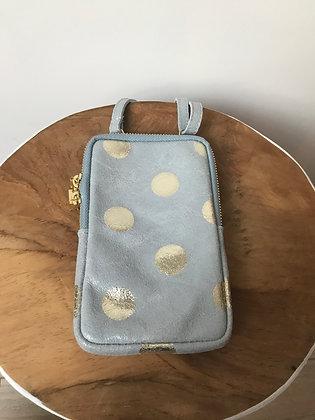 Cellphone Polka Dots Baby Blue Wallet - Jijou Capri