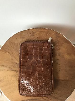 Cellphone Brown Leather Croco Wallet - Jijou Capri
