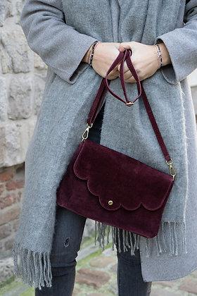 Suzie Wine Suede Leather Crossbody Bag - Jijou Capri