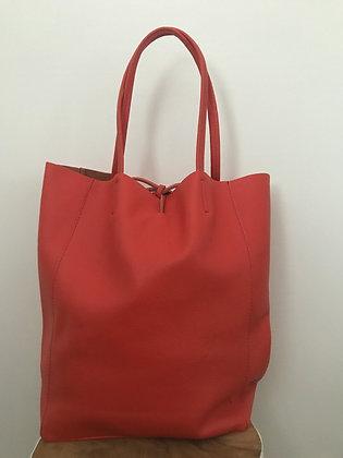 Coral Grained Leather Tote Bag - Jijou Capri
