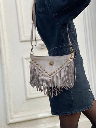 Grey Idaho vintage Leather Crossbody Bag - Jijou Capri