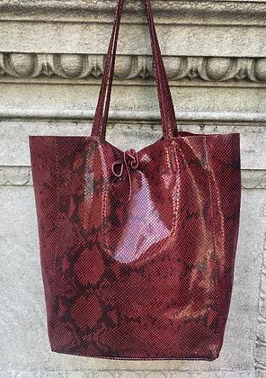 Wine Snake Print Tote Bag - Jijou Capri