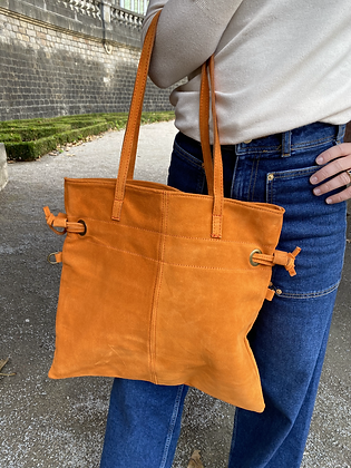 Orange Robin Suede Leather Handbag - Jijou Capri