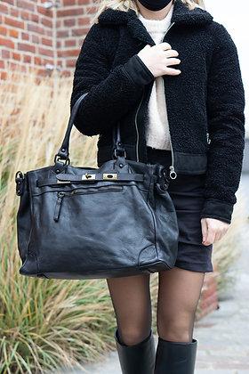 Classic Black Sophia Vintage Leather Handbag - Jijou Capri
