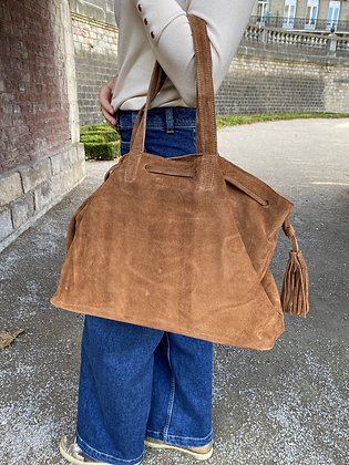 Camel Folya Suede Leather Handbag - Jijou Capri