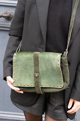 Green Arles Suede Pony Leather Crossbody Bag - Jijou Capri