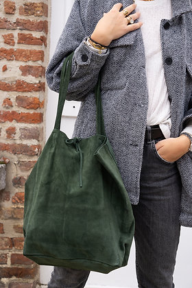Forest Green Suede Leather Tote Bag - Jijou Capri
