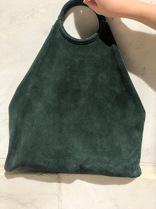Montreal Medio Suede Leather Tote Bag Forest Green 39 - Jijou Capri