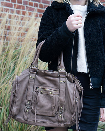 Taupe Hana Vintage Leather Handbag - Jijou Capri