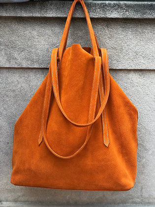 Sibilla Orange Suede Handbag - Jijou Capri