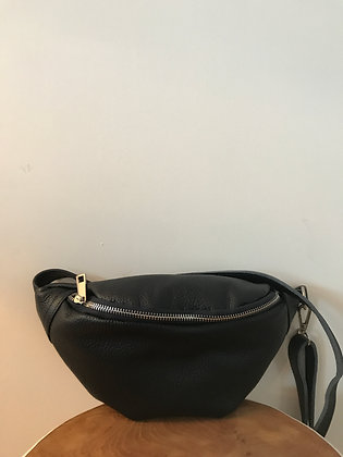 Fanny Pack Navy Grained Leather - Jijou Capri