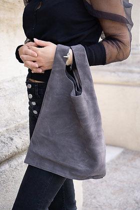 Grey Tokyo suede leather handbag- Jijou Capri