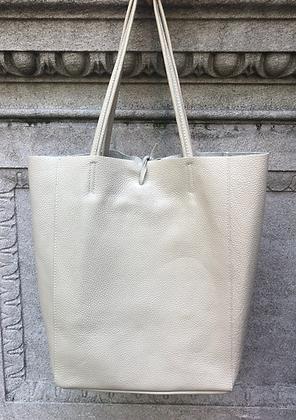 Beige Leather Tote Bag - Jijou Capri