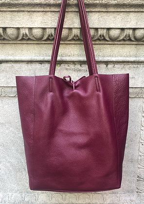 Wine Leather Tote Bag - Jijou Capri
