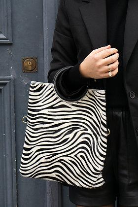 Black Zebra Twiggy Pony Leather Handbag - Jijou Capri
