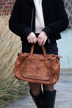 Camel Marcie Vintage Leather Handbag - Jijou Capri