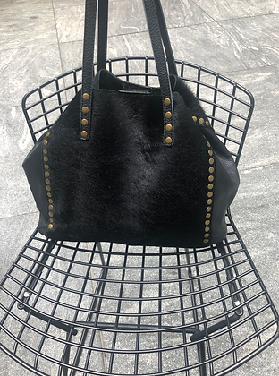 Black Luxy Pony Hair Bag - Jijou Capri