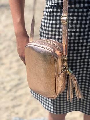 Misa Metallic Leather Rose Gold Bag - Jijou Capri