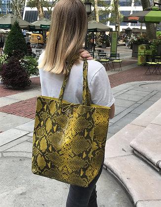 Mustard Snake Print Tote Bag - Jijou Capri