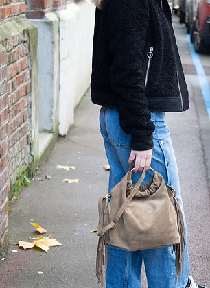 Taupe Terry Suede Fringes Leather Handbag - Jijou Capri