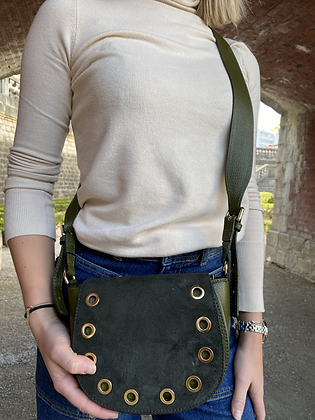 Basilea Olive suede leather Crossbody Bag - Jijou Capri