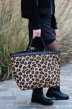 Big Cheetah Minos Pony Leather Handbag - Jijou Capri