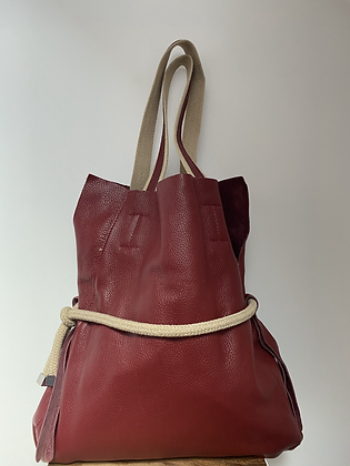 Red Adelmo leather handbag - Jijou Capri