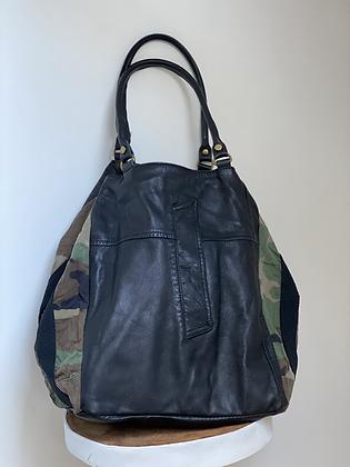 Black Jacket Camo Leather Handbag - Jijou Capri