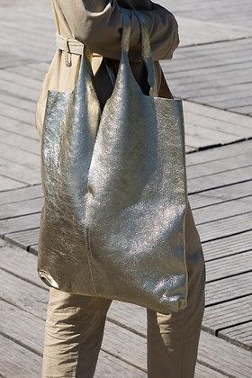 Middle Cut Metallic Gold Leather Tote Bag - Jijou Capri