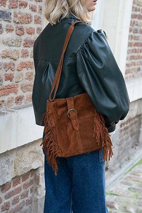 Jill Brown Suede Leather Crossbody Bag - Jijou Capri