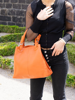 Quatro side Orange Leather Handbag - Jijou Capri