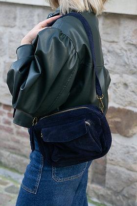 Lou Navy Suede Leather Crossbody Bag - Jijou Capri