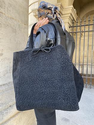 Black Maxi Vivo Lana Leather Tote Bag - Jijou Capri