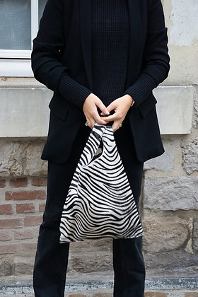 Zebra Tokyo Half Pony leather handbag- Jijou Capri