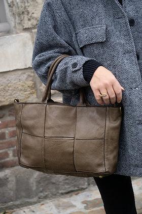 Taupe Evangeline Vintage leather handbag - Jijou Capri