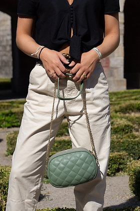 Sage Green Cruise Matelassé Crossbody Bag - Jijou Capri