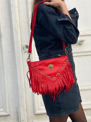 Red Idaho vintage Leather Crossbody Bag - Jijou Capri