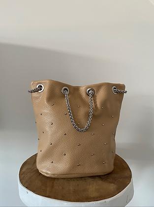 Beige Liliana Bucket Studds Crossbody Bag - Jijou Capri