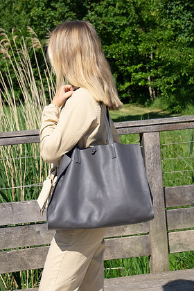 Anthracite Colette Leather Tote Bag - Jijou Capri