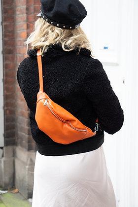 Fanny Pack Orange Grained Leather - Jijou Capri