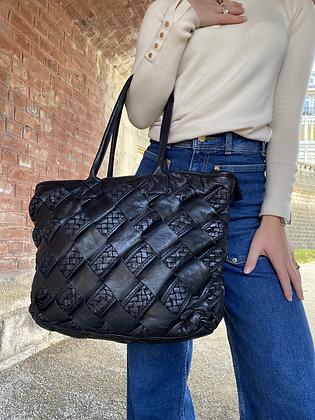Black Minos Vintage Mosaico Leather Handbag - Jijou Capri