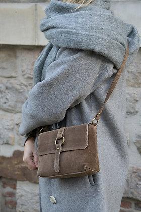 Taupe Milly Suede Leather Crossbody Bag - Jijou Capri