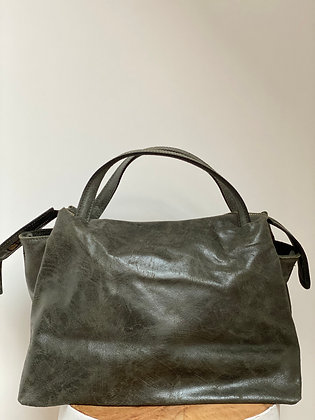 Jasmine Olive Vintage Leather Handbag - Jijou Capri