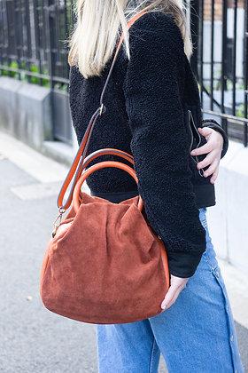 Orange Nuvola Suede Leather Handbag - Jijou Capri