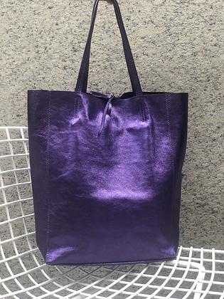 Metallic Purple Leather Tote - Jijou Capri