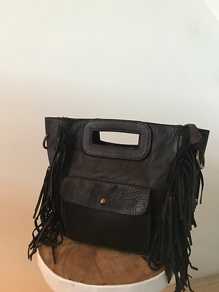 Mariella brown Fringes Vintage Leather Handbag - Jijou Capri