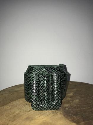 Vogue Python Leather Belt Forest Green  - Jijou Capri